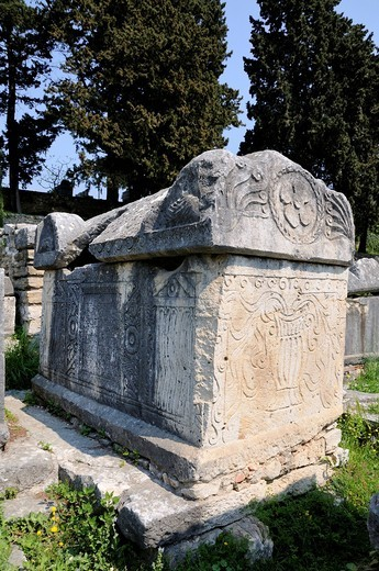 Sarcophagi in the ruins of an early Christian basilica inv Salona near Split, Croatia, Europe : Stock Photo