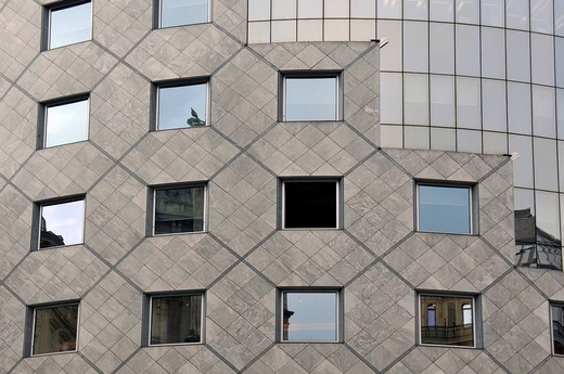 Detail of facade of postmodernist Haas_Haus building, designed by architect Hans Hollein, Vienna, Austria, Europe : Stock Photo