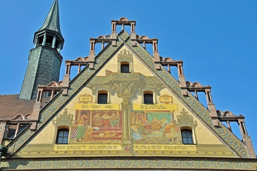 Stock Photo: 1848-469621 West facade of City Hall, Ulm, Baden_Wuerttemberg, Germany, Europe