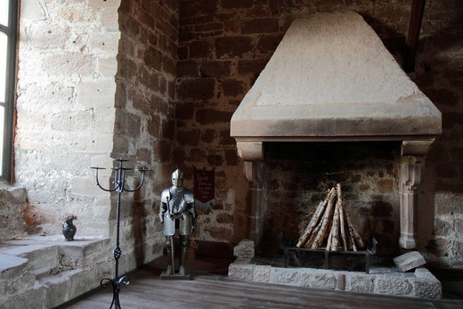 Knight´s armor and open fireplace, great hall, Burg Hardeg palace, Hardegsen near Goettingen, Lower Saxony, Germany, Europe : Stock Photo