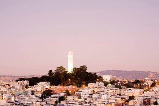 Stock Photo: 1848-469683 Lighted Coit Tower at dawn, Telegraph Hill, San Francisco, California, United States of America