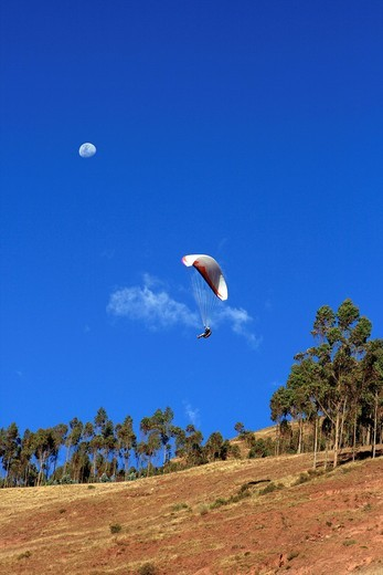 Paraglider at Mirador del Racchi, Cusco, Peru, South America : Stock Photo