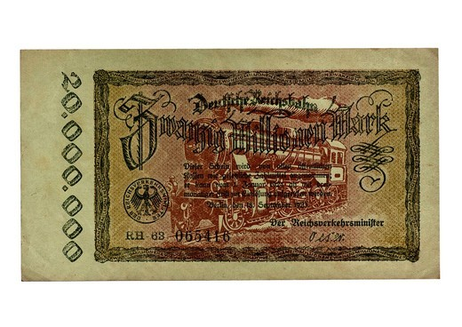 Front, banknote over twenty million dollars, Berlin, September 18th 1923, German Empire Railways, public funds, Minister of Transport of the German Empire : Stock Photo