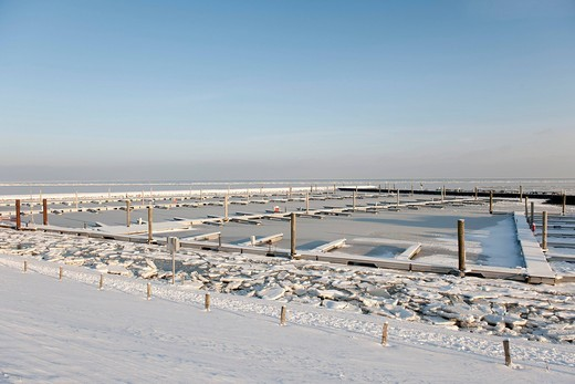 Stock Photo: 1848-470383 The fully frozen marina of Wyk on the North Sea island of Foehr, Nationalpark Schleswig_Holsteinisches Wattenmeer, Schleswig_Holstein Wadden Sea National Park, Unesco World Heritage Site, North Frisian islands, Schleswig_Holstein, northern Germany, Europe