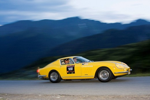 Ferrari 275 GTB, built in 1965, Soelkpass, Ennstal Classic 2009 rally, Groebming, Styria, Austria, Europe : Stock Photo