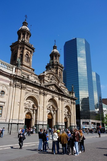 Stock Photo: 1848-470737 Cathedral, Plaza de Armas, Santiago de Chile, Chile, South America
