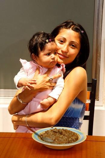 Under_age single mother, women´s refuge, Santiago de Chile, Chile, South America : Stock Photo