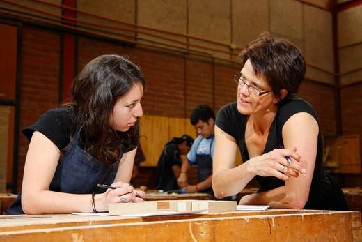 Stock Photo: 1848-471214 Girl as an apprentice in the carpentry, Fundación Cristo Vive, Santiago de Chile, Chile, South America
