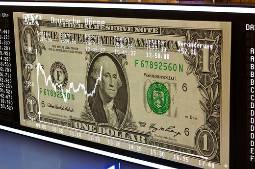 Development of the U.S. Dollar at the stock exchange, financial world : Stock Photo