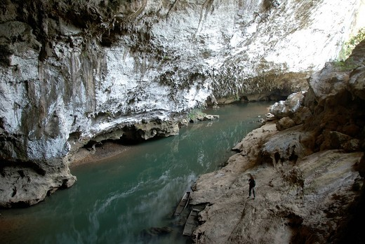 River flowing through a large cave, limestone, karst, Tham Pha Chan, Tha Khek, Khammouan province, Laos, Southeast Asia, Asia : Stock Photo