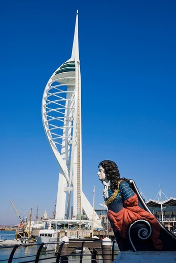 The figurehead and Spinnaker Tower, Gunwharf Quays, Portsmouth, Hampshire, England, United Kingdom, Europe : Stock Photo