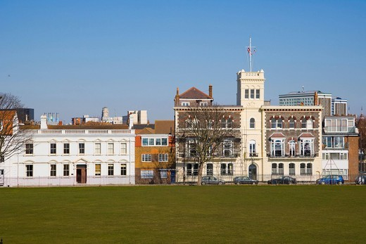 Pembroke Road with Royal Naval Club and Royal Albert Yacht Club from King´s Bastion, Old Portsmouth, Hampshire, England, United Kingdom, Europe : Stock Photo