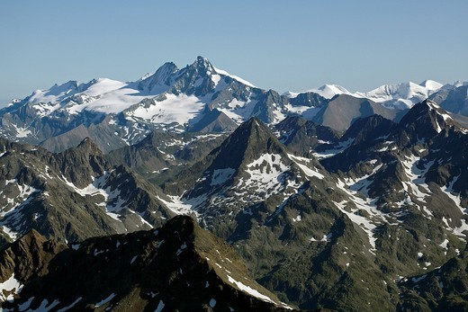 Schober group, Schobergruppe, Mt Grossglockner, aerial photo, Tyrol, Carinthia, Austria, Europe : Stock Photo