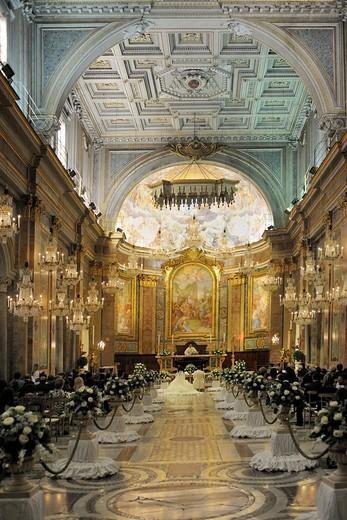 Interior of Basilica Celius SS Giovanni e Paoloa, wedding decoration, Rome, Italy, Europe : Stock Photo