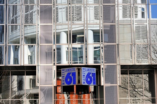 The Westend Tower building in the financial district is reflected in a mirrored façade, Frankfurt am Main, Hesse, Germany, Europe : Stock Photo