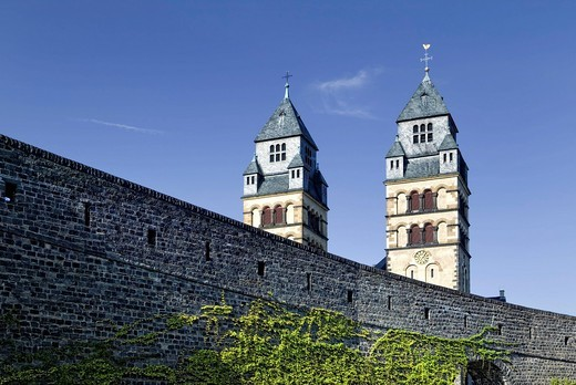 Town fortifications and Herz Jesu Church, Mayen, Rhineland_Palatinate, Germany, Europe : Stock Photo