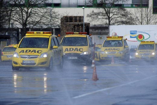 Safety training for patrolmen of the ADAC, German automobile club, ADAC training site, Koblenz, Rhineland_Palatinate, Germany, Europe : Stock Photo