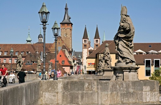 Old Bridge over the Main in Wuerzburg, Lower Franconia, Bavaria, Germany, Europe : Stock Photo