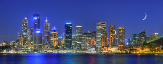 Panorama shot of Sydney Harbour skyline, Central Business District, moon, night shot, Sydney, New South Wales, Australia : Stock Photo