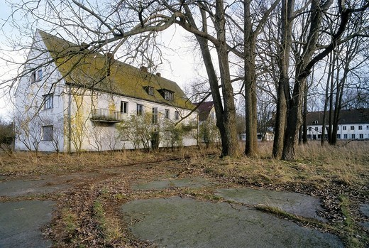 Abandoned barracks of the Soviet Armed Forces at the Wustrow Rerik Peninsula, Coast of the Baltic Sea, Mecklenburg_Western Pomerania, Germany, Europe : Stock Photo