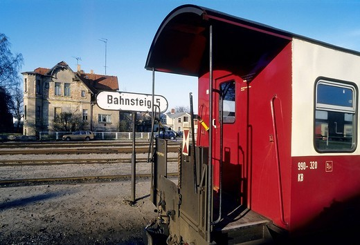 Wagon at a platform, Schmalspurbahn Molli, a narrow_gauge railway, Bad Doberan, Baltic Sea, Mecklenburg_Western Pomerania, Germany, Europe : Stock Photo