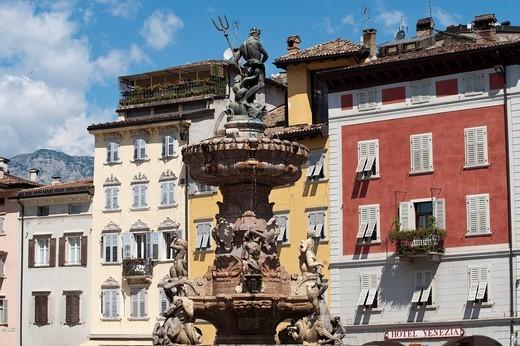 Fontana Nettuno or Neptune fountain, Piazza del Duomo square, Trent or Trento, Trentino, Italy, Europe : Stock Photo