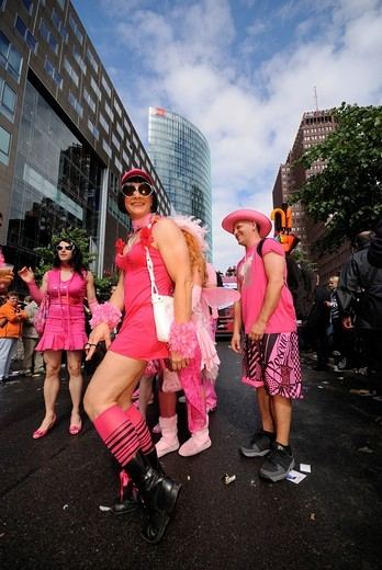 CSD, Christopher Street Day parade, Alte Potsdamer Strasse, Potsdamer Platz square, Tiergarten district, Germany, Europe : Stock Photo