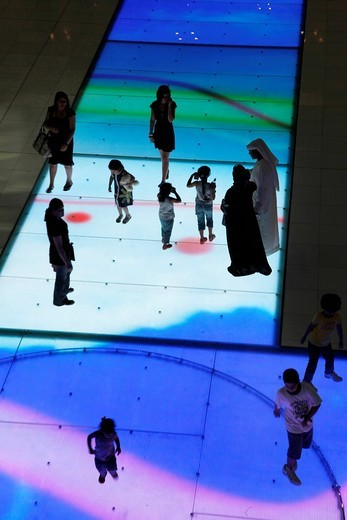 Light show, inserted into ground, in the Dubai Mall, Dubai, United Arab Emirates, Middle East : Stock Photo