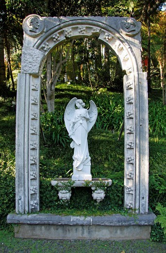 Sculpture, tropical garden, Monte Palace Tropical Garden, Jose Bernardo Foundation, Funchal, Madeira, Portugal, Europe : Stock Photo