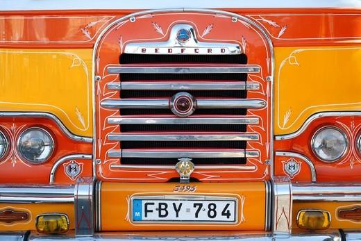 Detail view of a Bedford Bus, Valletta, Malta, Europe : Stock Photo