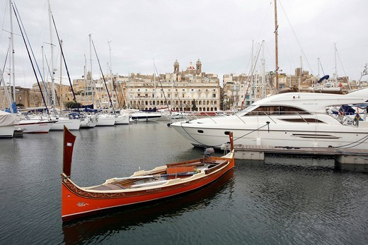 Stock Photo: 1848-474236 Maltese fishing boat, marina, Vittoriosa, Birgu, Senglea, Valletta, Malta, Europe