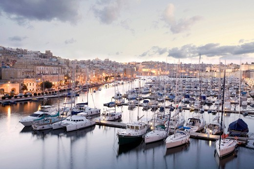Marina between Vittoriosa and Senglea, Birgu, Senglea, Valletta, Malta, Europe : Stock Photo