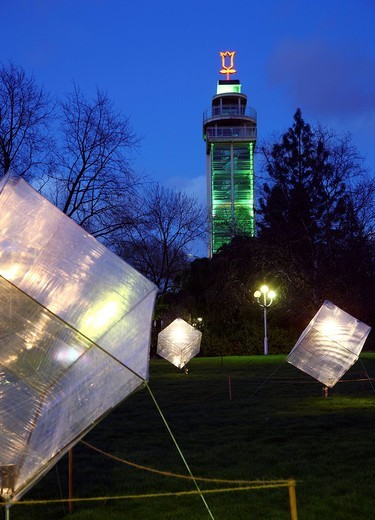 Illuminated works of art in an artistic lights installation, Gruga Park, Essen, North Rhine_Westphalia Germany, Europe : Stock Photo