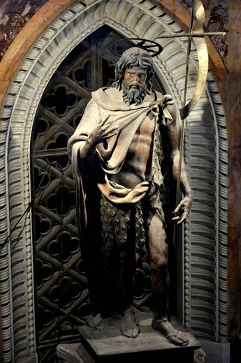 Jesus statue on the tomb of Pope Martino V, nave, Basilica San Giovanni in Laterano, Basilica of St. John Lateran, Rome, Lazio, Italy, Europe : Stock Photo