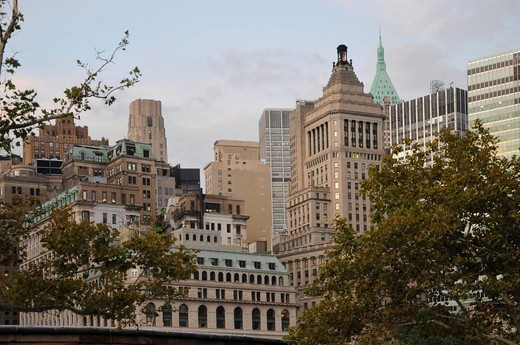 Stock Photo: 1848-474799 Skyline, Battery Park, Financial District, New York City, North America, USA