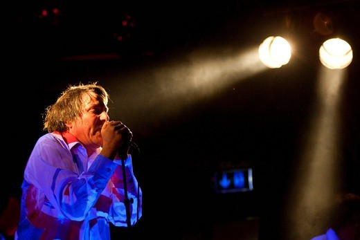 Peter Hein, singer and frontman of the German band Fehlfarben live in the Schueuer venue, Lucerne, Switzerland : Stock Photo