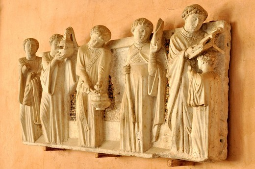 Relief, Office of the Dead on the tomb of the notary Annibaldi, cloister, Basilica San Giovanni in Laterano, Rome, Lazio, Italy, Europe : Stock Photo