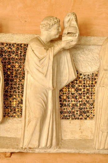 Figure of a relief, Office of the Dead on the tomb of the notary Annibaldi, cloister, Basilica San Giovanni in Laterano, Rome, Lazio, Italy, Europe : Stock Photo