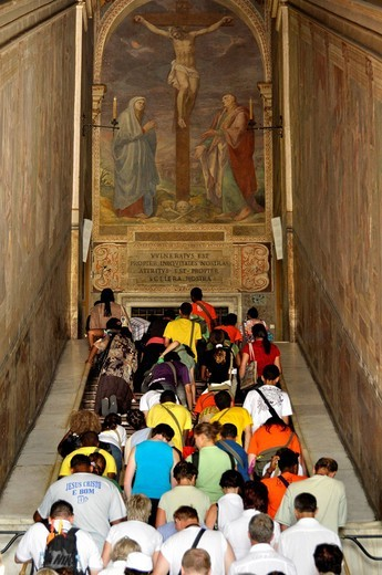 Holy stairs to the Chapel of San Lorenzo, Piazza di San Giovanni in Laterano, Rome, Lazio, Italy, Europe : Stock Photo