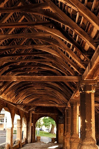Stock Photo: 1848-47488 The Old Market Hall with a wooden roof, 1627, High Street, Chipping Campden, Gloucestershire, England, United Kingdom, Europe