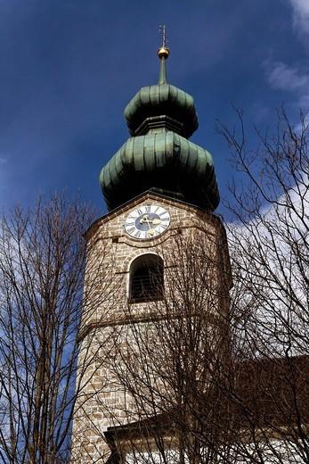 St. Geog Parish Church Belltower, Ruhpolding, Chiemgau, Upper Bavaria Germany : Stock Photo