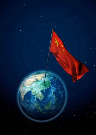 National flag of China set up on the globe : Stock Photo