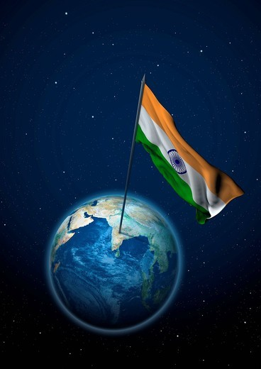 Stock Photo: 1848-475317 National flag of India set up on the globe