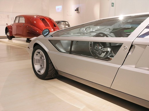 Stock Photo: 1848-475480 Maserati 310bhp in front of a Tatra Type 77, Mitomacchina exhibition, Museum of Modern Art, MART, Rovereto, Italy, Europe