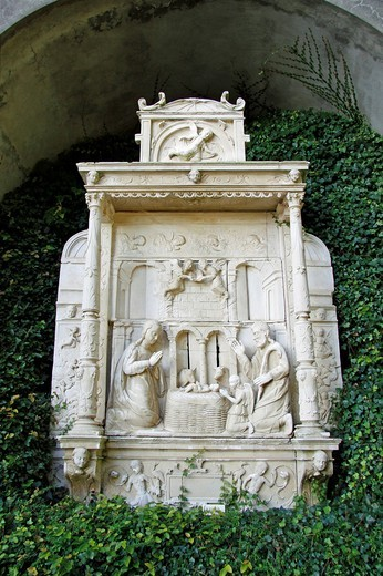 Stock Photo: 1848-475526 Sculpture ´Nativity´, Tropical Garden, Jardim Tropical Monte Palace, Jose Bernardo Foundation, Funchal, Madeira, Portugal, Europe