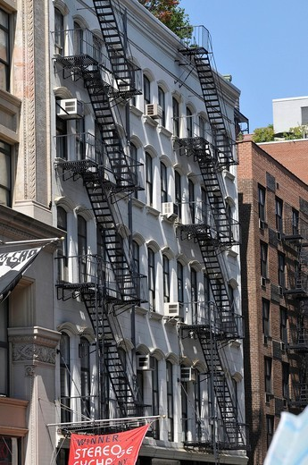 Stock Photo: 1848-475535 Row of houses with fire escapes, Broadway, Greenwich Village, New York City, New York, North America, USA