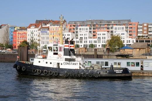 Tugboat in the Port of Hamburg, Germany, Europe : Stock Photo