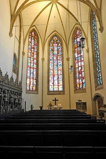 Renovated sanctuary, Grafenstandbilder statues, indoor photo of Stiftskirche church in Stuttgart, landmark and the oldest Protestant church of Stuttgart, Baden_Wuerttemberg, Germany, Europe : Stock Photo