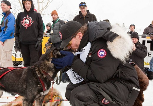 4 time Yukon Quest and Iditarod champion Lance Mackey kissing, thanking his dog after coming in second, finish line, Yukon Quest 1, 000_mile International Sled Dog Race 2010, Whitehorse, Yukon Territory, Canada : Stock Photo
