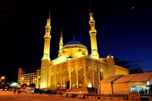 Khatem al_Anbiyaa Mosque at night, Beirut, Lebanon, Middle East, Orient : Stock Photo